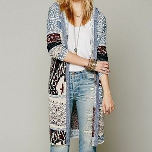 Free People Hooded Maxi Cardigan size sm